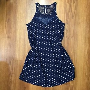 XHILARATION // Navy & White Polka Dot Dress💗
